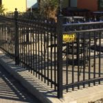 Speartop Black Railing with Circles around Patio