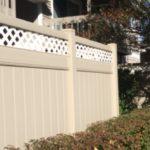 Tan PVC Privacy with White Diagonal Lattice