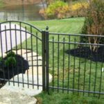 Satin Bronze Flattop with Spear picket with Arched Gate