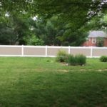Two Tone White rails Adobe Boards 4′ Tall and 5′ Tall PVC Privacy
