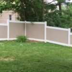 Two Tone White Rails and Adobe Boards 4′ Tall, 5′ Tall and 6′ Tall PVC Privacy
