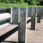 Guardrail with steel posts