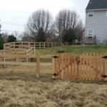 3 Board KY Board Fence with Roll Top Picket gate
