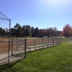 Chain Link Baseball Backstop and Dugout