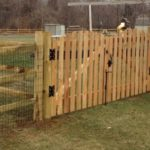 Roll Top Picket Double Drive Gate with Split Rail Fence